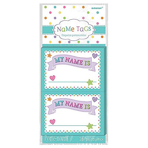 Shower Name Tags - Amscan Party Supplies Baby Shower Name Tags, Multicolor