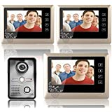 MOUNTAINONE 7 Inch Video Door Phone Doorbell Intercom System Kit 1-Camera 3-Monitor Night Vision 3PCS 10m Cable