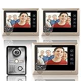 MOUNTAINONE 7 Inch Video Door Phone Doorbell Intercom System Kit 1-Camera 3-Monitor Night Vision 3PCS 10m Cable