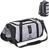 Unisex Sports Gym Duffel Bag,36-55L Large Capacity Travel Luggage Bag, Waterproof Fitness Backpack Rucksack Crossbody Shoulder Bag Training Cabin Handbag with Shoe Compartment for Men Women