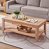 BON AUGURE Natural Wood Coffee Table with Storage Shelf, Rustic Farmhouse Cocktail Table for Living Room (47 Inch, Light Brown Finished)
