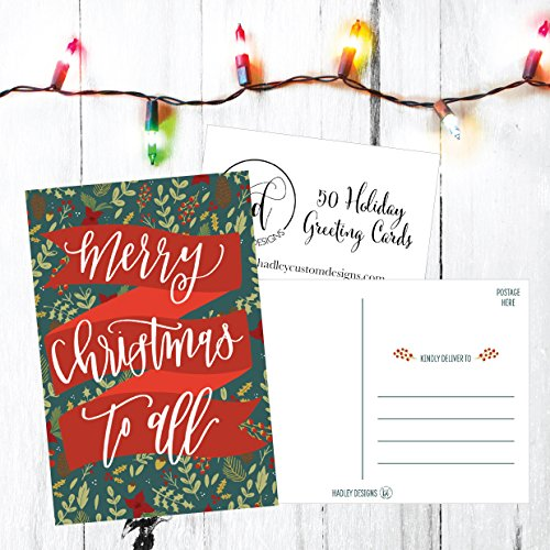 50 Holiday Greeting Cards, Cute Fancy Blank Winter Christmas Postcard Set, Bulk Pack of Premium Seasons Greetings Note, Mistletoe Happy New Years for Kids, Business Office or Church Thank You Notes Photo #4