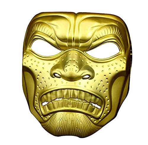 Mardi Gras Party Masquerade Mask,Halloween Film and Television Theme Horror mask Skull Head Adult mask Spartan 300 Warrior Outdoor mask Gold Prom Masks -
