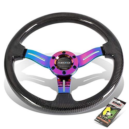 NRG Innovations ST-010MC-CF 350mm Carbon Fiber Grip Steering Wheel + Air Freshener