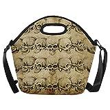 Feddiy Vintage Mexican Skulls Insulated Lunch Tote Bag Reusable Neoprene Cooler 11.4(29cm) X 11.4(29cm) X 6.3(16cm), Tattoo Art Skeleton Head Portable Lunchbox Handbag with Shoulder Strap