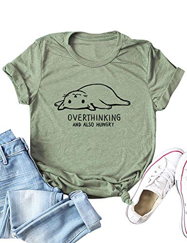 Also Cats - ZJP Women Short Sleeve Cat Print Tee Overthinking and Also Hungry T-Shirt Tops