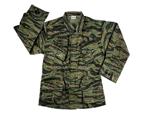 Meteor Man Halloween Costume (Vintage Tiger Stripe Jungle Vietnam War Style Combat Fatigue Rip Stop Army Shirt)
