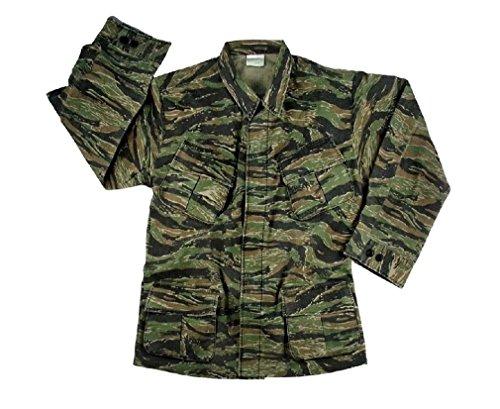 Vintage Tiger Stripe Jungle Vietnam War Style Combat Fatigue Rip Stop Army Shirt (Shirt Tiger Stripe Fatigue Vietnam)