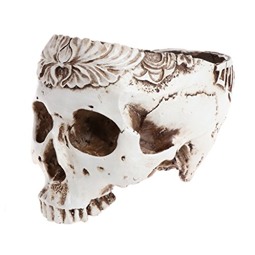 Fucung Human Head Skull Model Flower Pot Planter Container Craft Ornaments for Halloween Home Decor (01#)