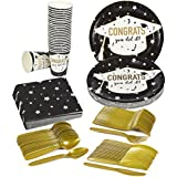 Disposable Dinnerware Set - Serves 24 - Graduation Party Supplies - Includes Plastic Knives, Spoons, Forks, Paper Plates, Napkins, Cups