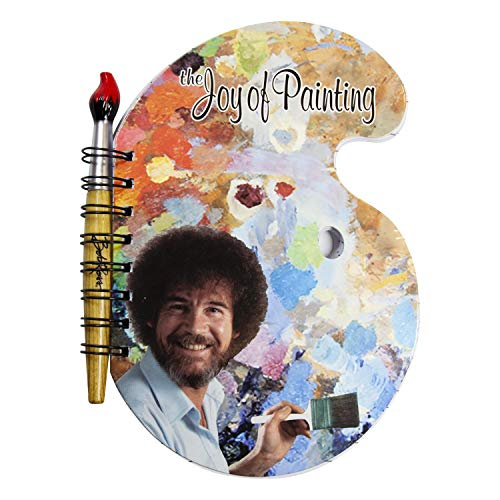 (Surreal Entertainment Bob Ross Paint Palette Journal and Brush Pen - Licensed Collectible 80s Art Notepad - Novelty Book - Unique Gift for Birthdays, Holidays, House Warming)