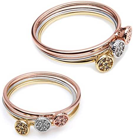 The Gemseller 18k Gold Plated and Swarovski Crystal Stacking Rings, Set of 3 (White Gold, Yellow Gold and Rose Gold) each with 3 Swarovski Crystals 2mm each