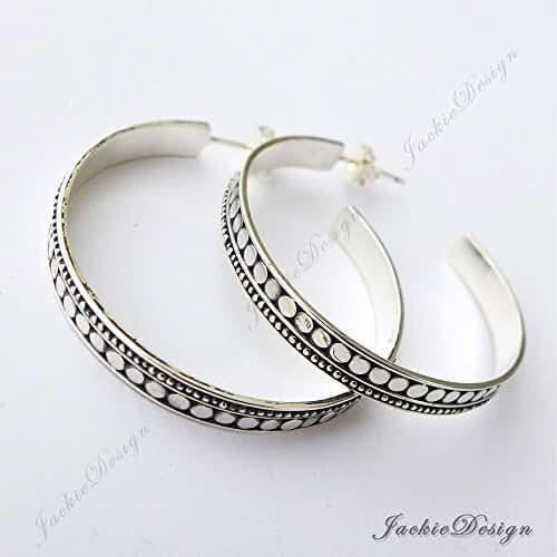 38mm Bali Ornate Design Oxidized Hoop Sterling Silver Earrings JD110