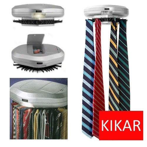 KIKAR Electric Motorised Tie Rack | Wall Mounted Tie/ Belt/ Scarf Organizer