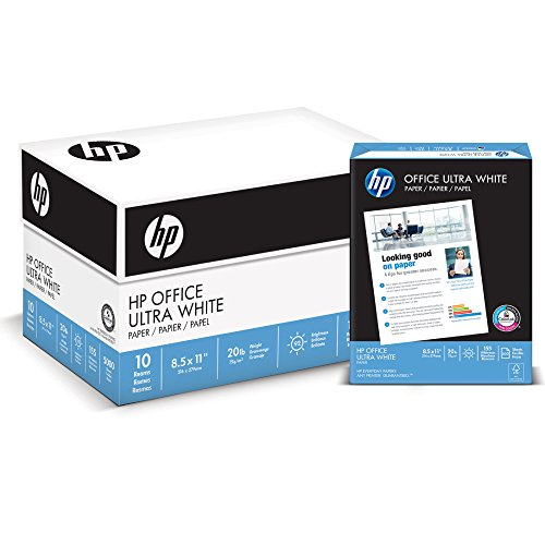 HP Printer Paper, Office20, 8.5 x 11, Letter, 92 Bright, 5,000 Sheets / 10 Ream Carton (112110C) Made In The USA