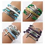 Twinkle Handmade Fashion Blessing Charms Friendship Gift Party Accessory Leather Bracelet (4 Pieces/lot)