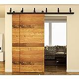 HomeDeco Hardware Black Steel Bypass Double Sliding Barn Door Hardware Track Roller Closet Set ...