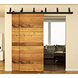 Hahaemall 12FT Classic Indoor Bypass Sliding Double Barn Door Hardware Roller Set Metal Flat Track Black Hanger Set