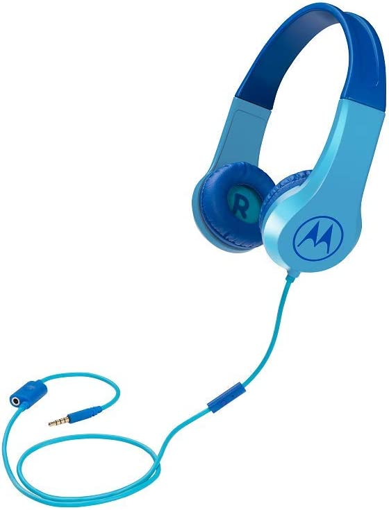 Motorola Squads 200 - Auriculares con Cable para niños (Volumen Limitado 85dB, protección auditiva y función de Compartir música, cojín antialérgico) Color Azul