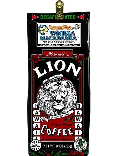 Hawaii Lion Flavored Coffee 10 oz. Ground Vanilla Macadamia Decaf