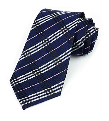 Mens Navy Blue White Woven Tie HANDMADE Luxury Suit Chic Neckties Best Birthday Present for Boyfriend Son