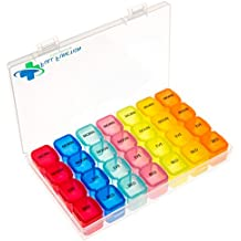 Small 7 Day Pill Box & 4 Times a Day Pill Organizer, Ideal for your Weekly Prescription Medication Needs, in a Convenient Travel Pill Case, See Pictures for Pill Organizer Dimensions:Full Function Int