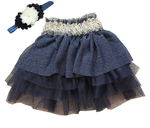 Baby Girl Navy Blue Mini Tutu Skirt With Handmade Elastic Headband (24m)