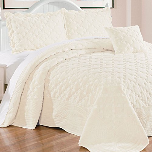 Serenta Faux Fur Quilted Tatami 4 Pcs Bedspread Set, King Antique White