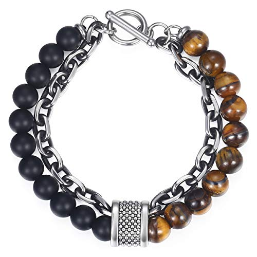 Trendsmax Natural Tiger Eyes Beaded Bracelet for Men Boys Gunmetal Stainless Steel Rolo Cable Link Chain Bracelet ()
