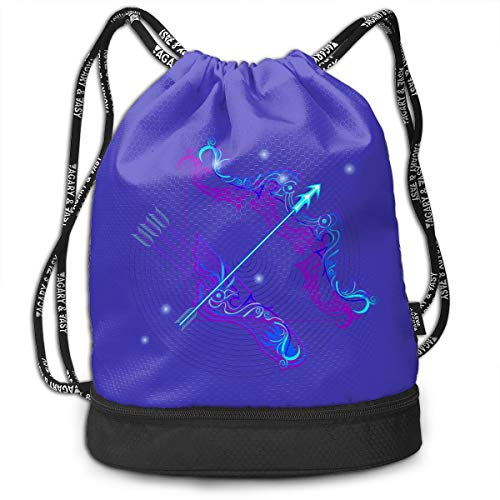 Address Verb Drawstring Backpack with Pocket Multifunctional Sturdy Sagittarius Sackpack Sports Gym Shoulder String Bags