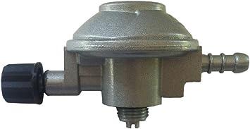 Grifo regulador de gas con presión de salida 28 (gr/cm^2) para botella azul tipo camping