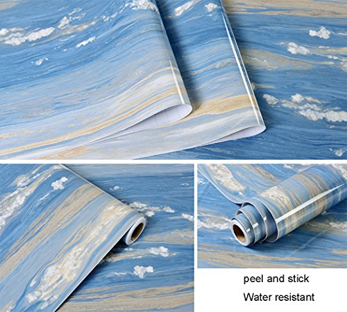 Glow4u Blue Ocean Glossy Marble Granite Look Contact Paper Self Adhesive Film Vinyl Kitchen CounterTop Backsplash Table Shelf Liner 24 by 196 Inches