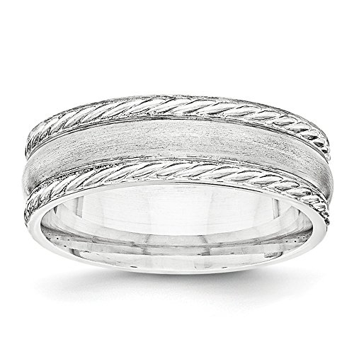 6mm Sterling Silver Brushed Twisted Rope Edge Wedding - Twisted Wedding Ring