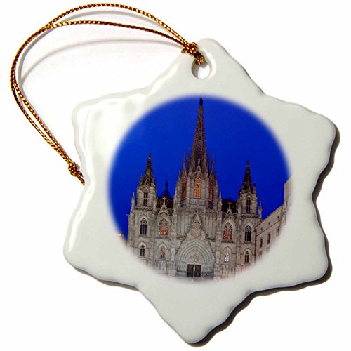 3dRose orn_139133_1 Gothic Quarter, Barcelona Cathedral, Barcelona, Spain EU27 RTI0030 Rob Tilley Snowflake Ornament, Porcelain, 3-Inch by 3dRose