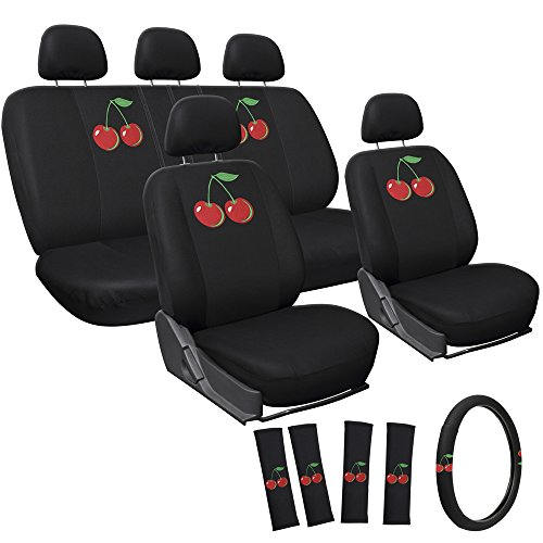 Cherries Steering Wheel Cover - Oxgord 17pc Set Universal Car Seat Covers, Van, Truck, SUV - Black with Embroidered Cherry Logo
