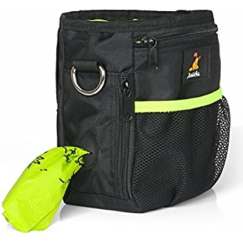 Dog Treat Pouch with Waste Bags Dispenser, Furkicks Pet Training Bag with Adjustable Waist Belt & Shoulder Strap, Hands Free Carries for Walking