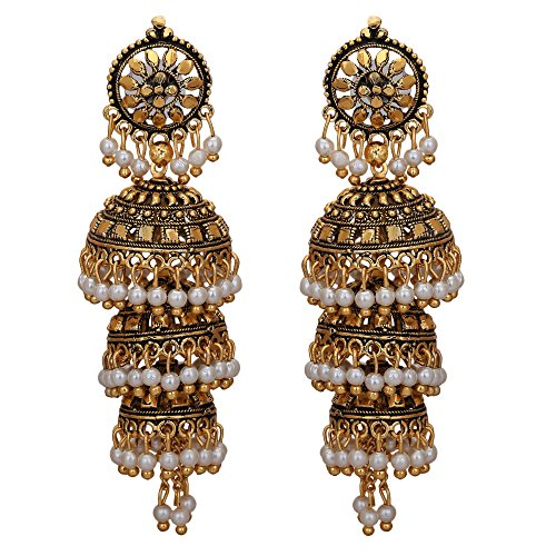 d60f900d2b334 Jwellmart Bollywood Traditional Ethnic Pearl Jhumka Jhumki Indian Earrings  for Women and Girls (Style1)