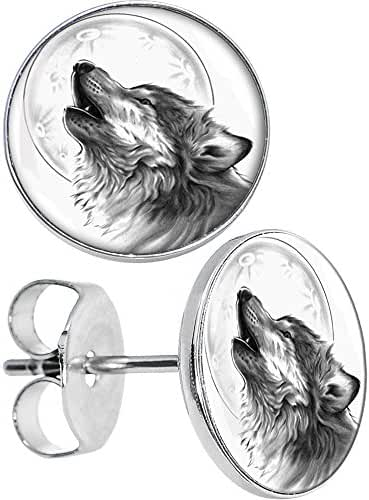 Body Candy Stainless Steel Howling Wolf Stud Earrings