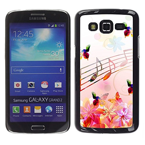 Plastic Shell Protective Case Cover || Samsung Galaxy Grand 2 || Music Notes Pink Flowers Butterflies Nature @XPTECH