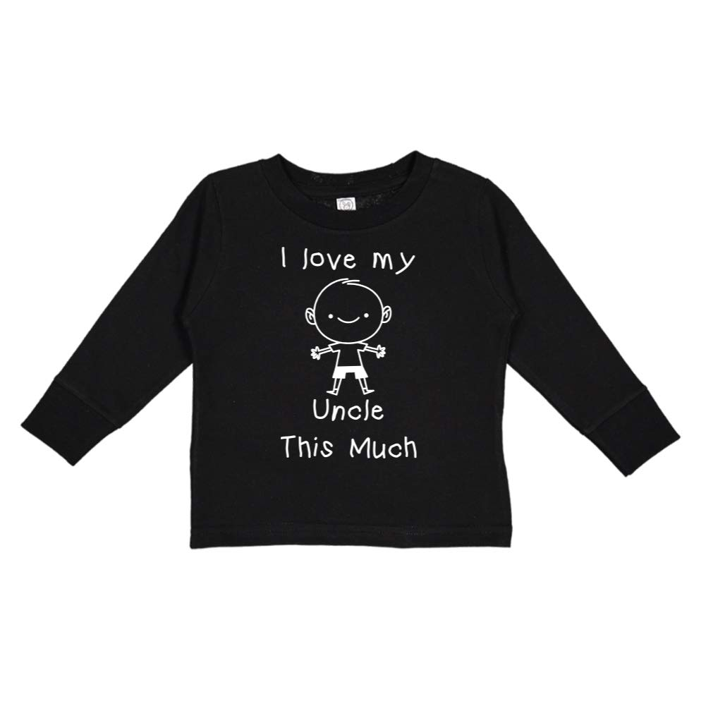Little Boy Personalized Name Toddler//Kids Long Sleeve T-Shirt I Love My Uncle This Much