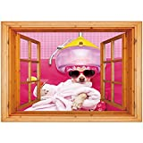 3D Depth Illusion Vinyl Wall Decal Sticker [ Funny,Chihuahua Dog Relaxing and Lying in Wellness Spa Fashion Puppy Comic Print Decorative,Magenta Baby Pink ] Window Frame Style Home Decor Art Removable