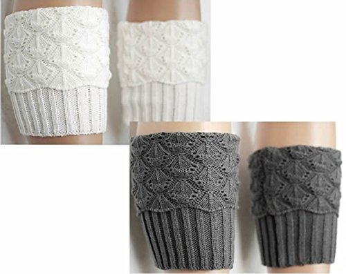 Women Winter Leg Warmer Cozy Soft Crochet Knit Boot Cuffs Toppers Socks Twin Packs by Secret Life (2 Pair Grey/White)