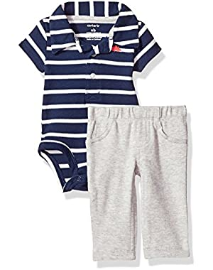 2 Piece Striped Set, Navy/White, New Born