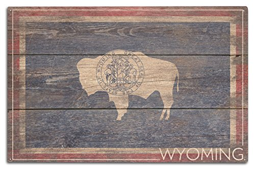 (Lantern Press Rustic Wyoming State Flag (10x15 Wood Wall Sign, Wall Decor Ready to Hang))