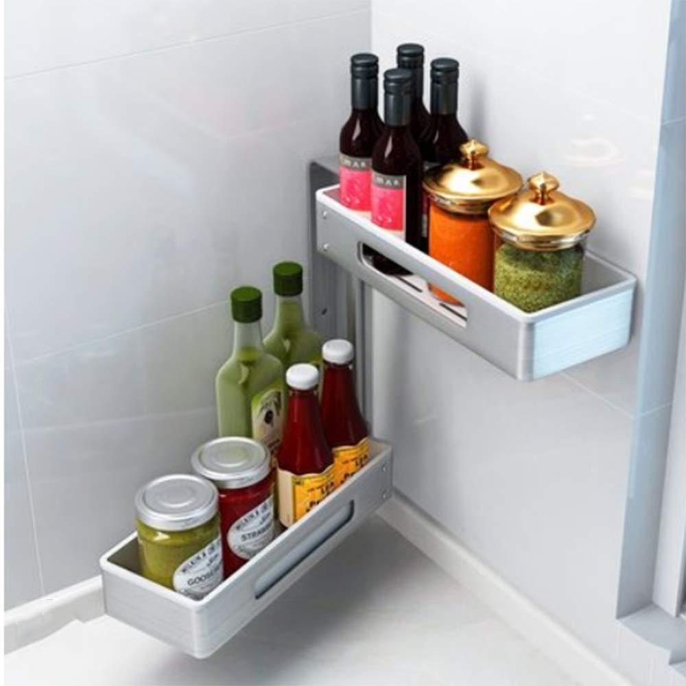 HUO Kitchen Storage Rack Rotating Seasoning Shelf Corner Rack Multifunction (Color : C, Size : 2)