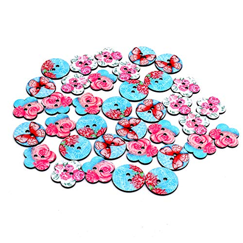 (100pcs Mixed Wooden Buttons Pink Blue Butterfly Flower Shape Craft Round Assorted Buttons for Sewing DIY Crafts 25mm (Blue))
