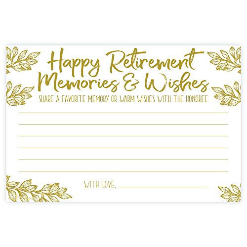 m&h invites Retirement Memories and Wishes Cards (50 Count)