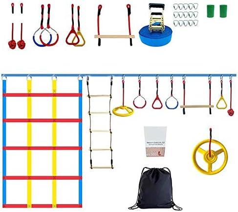 Kacsoo Ninja Warrior Obstáculos Coursefor Kids 50FT Slackline Kit - Equipo de entrenamiento Ninja Warrior, anillos Ninja, escalera de cuerda de ...