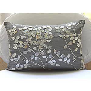silver lumbar pillow cover mother of pearls. Black Bedroom Furniture Sets. Home Design Ideas