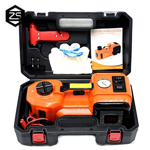 - 12V DC 5.0T(11023lb) Electric Hydraulic Floor Jack,Tire Inflator Pump and LED Flashlight 3 in 1 Set with Safe Hammer, Whole Set of Car Repair Tool Kit Electric Car Jack